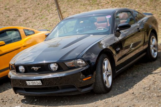 Black Ford Mustang 5th gen muscle car