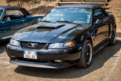 Black Ford Mustang fourth generation muscle car