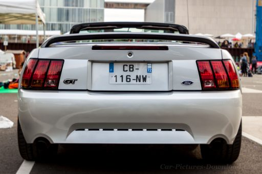 Grey Ford Mustang GT 4th generation back view