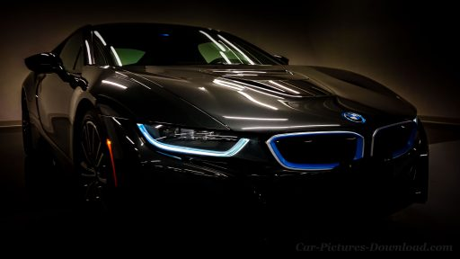 black BMW i8 hybrid sports car wallpaper