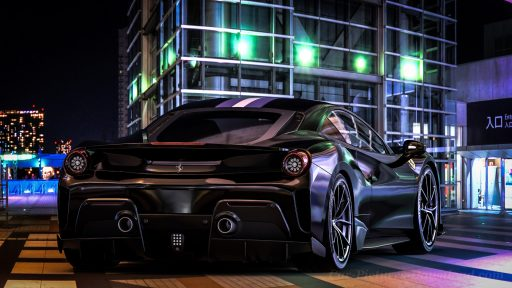 black Ferrari 488 car wallpaper HD