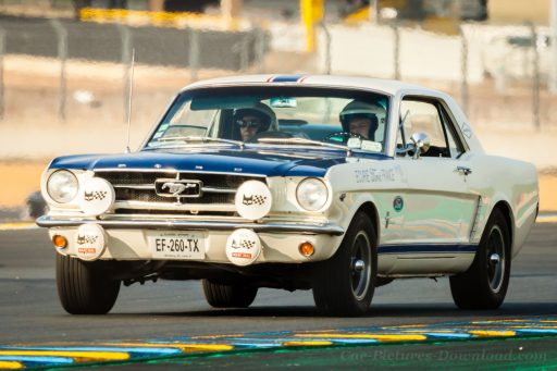 classic white Ford Mustang racing car 1965