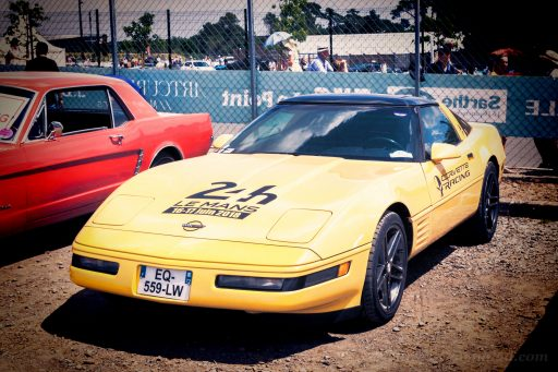 classic yellow Corvette C4 sports car
